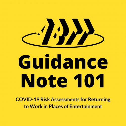 Guidance Note 101 – COVID-19 Risk Assessments for Returning to Work in Places of Entertainment